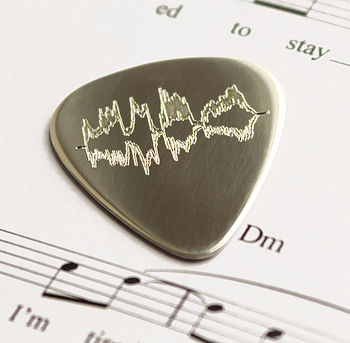 Personalised Sound Wave Sterling Silver Pick