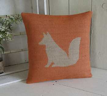 Rusty The Fox Hessian Cushion