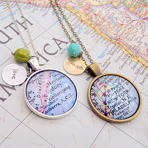 Personalised Location Map Pendant Necklace - wedding jewellery