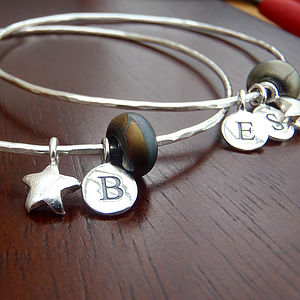 'Orbits' Personalised Sterling Silver Bangle - bracelets & bangles