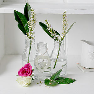 Three Mini Vintage Milk Bottles - tableware