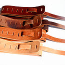 Deep Chestnut, Brown Crackle, Faded Tan, Creme Veg-Tan Guitar Strap