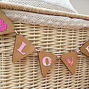 Pink fabric letters