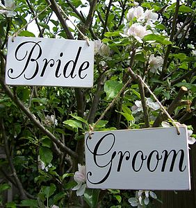 'Bride And Groom' Handmade Signs