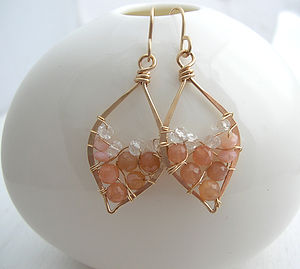 Peach Carnelian And Opal Leaf Hoops - earrings