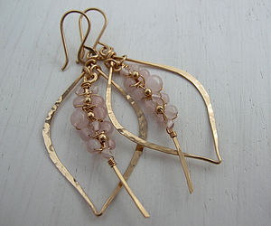 Rose Quartz Tusk Earrings - gemstones