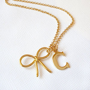 Personalised Bow Necklace - necklaces & pendants