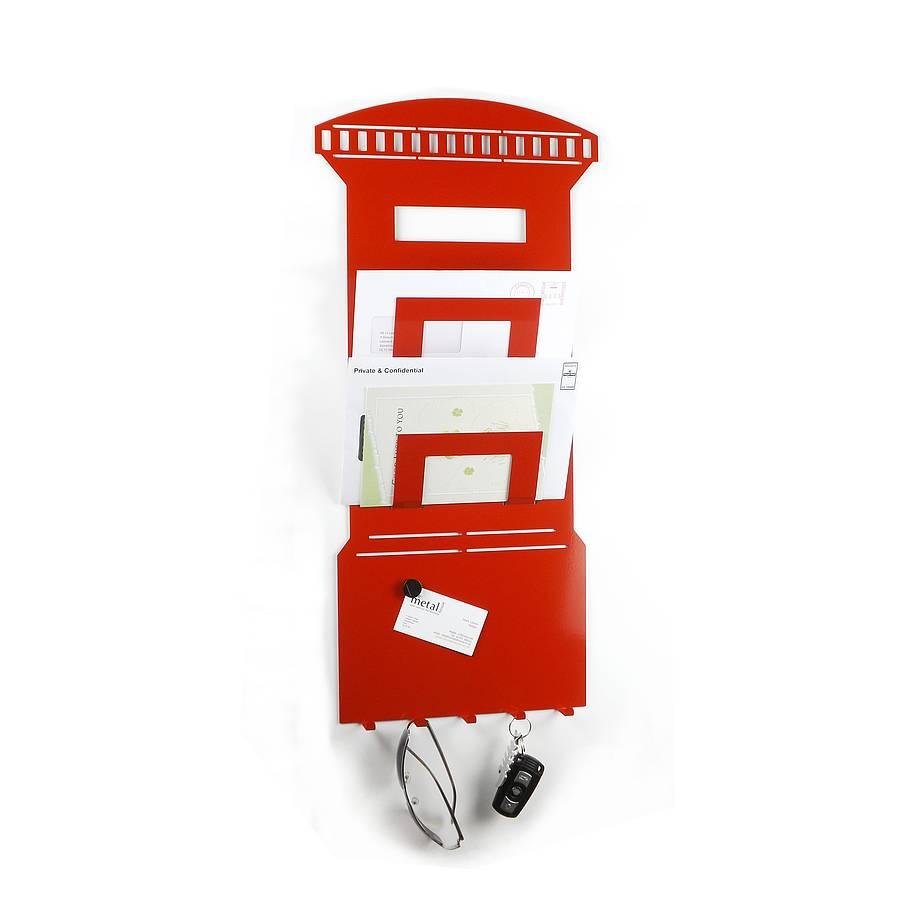 Postbox memo board letter and key rack by the metal house - Key hook and mail holder ...