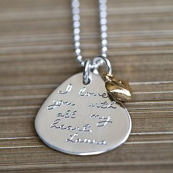 Personalised Gold Heart Message Pendant