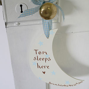 Personalised New Baby Boy's Moon Door Sign - keepsakes