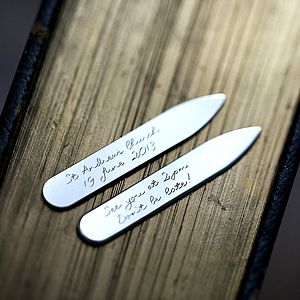 Personalised Silver Collar Stiffeners - wedding fashion