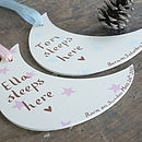 Personalised New Baby Boy's and baby girl's Moon Door Sign