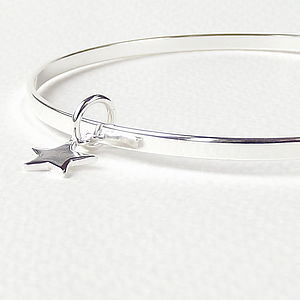 Tiny Sterling Silver Star Bangle - wedding thank you gifts