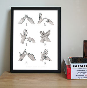 Personalised 'Father' Sign Language Print