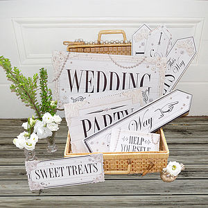 Set Of Eleven Dream Clean Wedding Signs