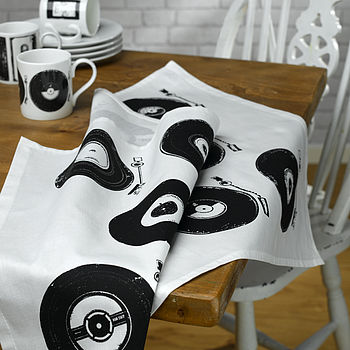 Retro Vinyl Tea Towel - Black & White