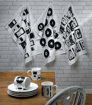 Retro Style Vinyl Tea Towel