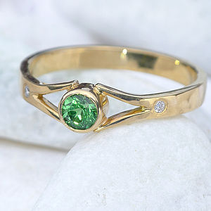 Tsavorite & Diamond Ring In 18ct Gold - rings