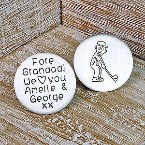 Personalised Silver Golf Marker - gifts for grandparents