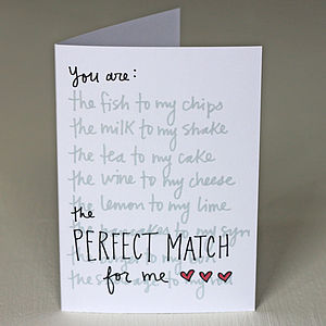'You Are The Perfect Match For Me' Card - valentine's cards