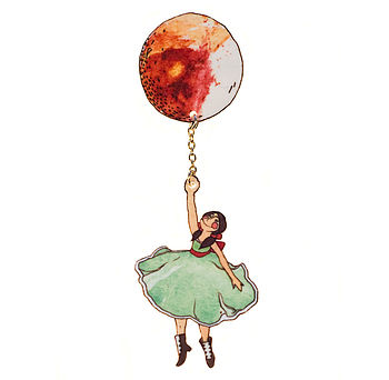 Fly Away Balloon Brooch Girl