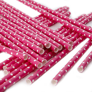 Polka Dot Paper Straws Hot Pink