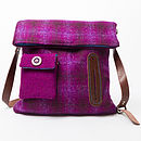 Handmade Harris Tweed Dog Walker's Bag in Purple check