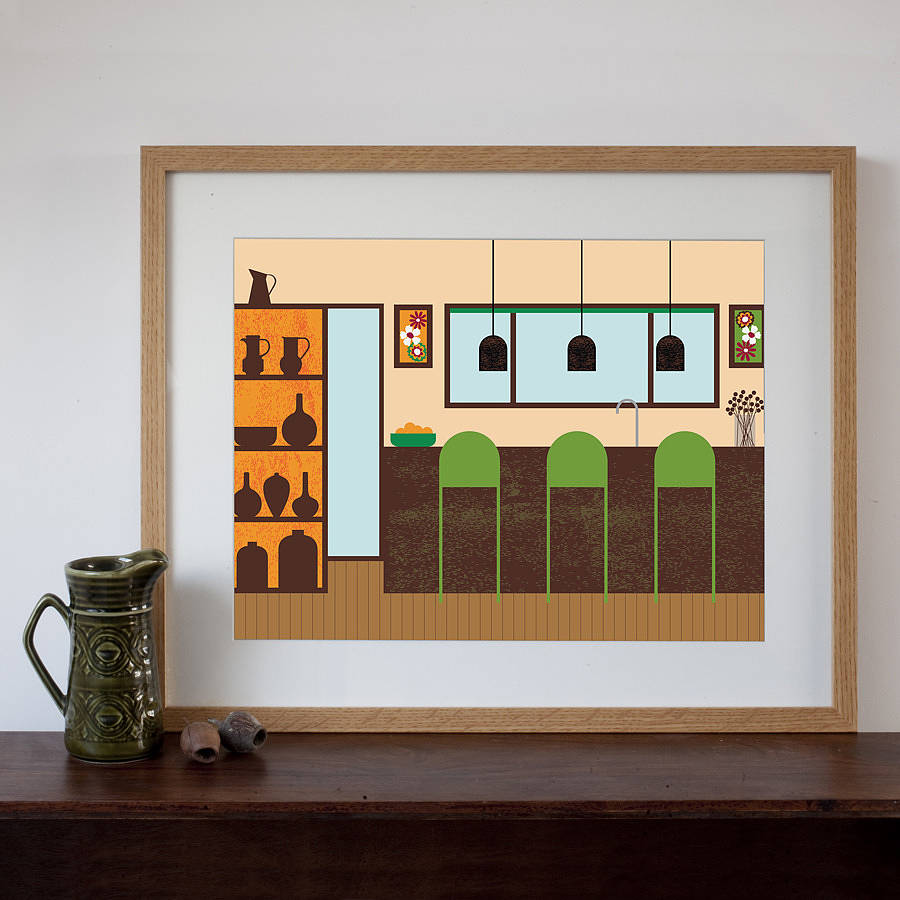 Retro Kitchen Art Print By Natalie Singh