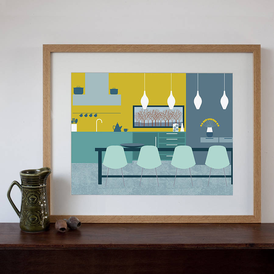 Mid century modern dining room art print by natalie singh for Mid century modern dining rooms
