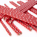 Polka Dot Paper Straws Red