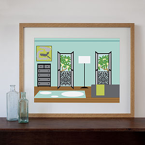 Modern Terraced House Bedroom Art Print