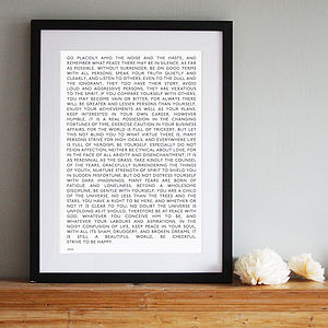 Desiderata Modern Style Word Art Print - shop by price