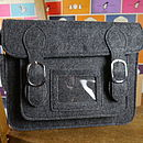 small grey satchel