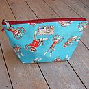 Sock Monkey Cosmetic Toiletry Wash Bag