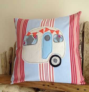 Seaside Caravan Appliqued Coastal Cushion
