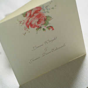 Folded English Rose Design Invitations - wedding stationery