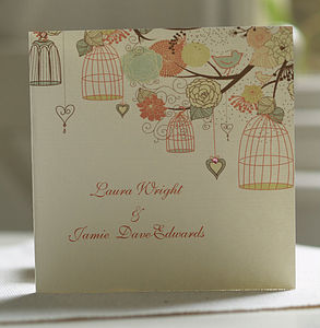 Folded Hanging Vintage Birdcages Invitations - wedding stationery