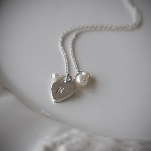 Personalised Silver Heart And Pearl Necklace