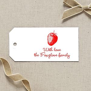 Personalised Strawberry Gift Tags - ribbon & wrap
