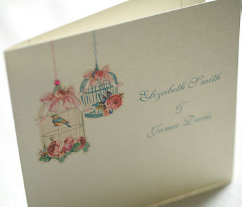 Folded Vintage Blossom Wedding Invitations