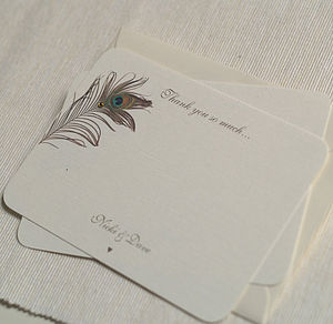 Peacock Feather Thank You Cards - wedding stationery