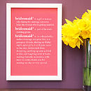 Personalised Bridesmaid Dictionary Print
