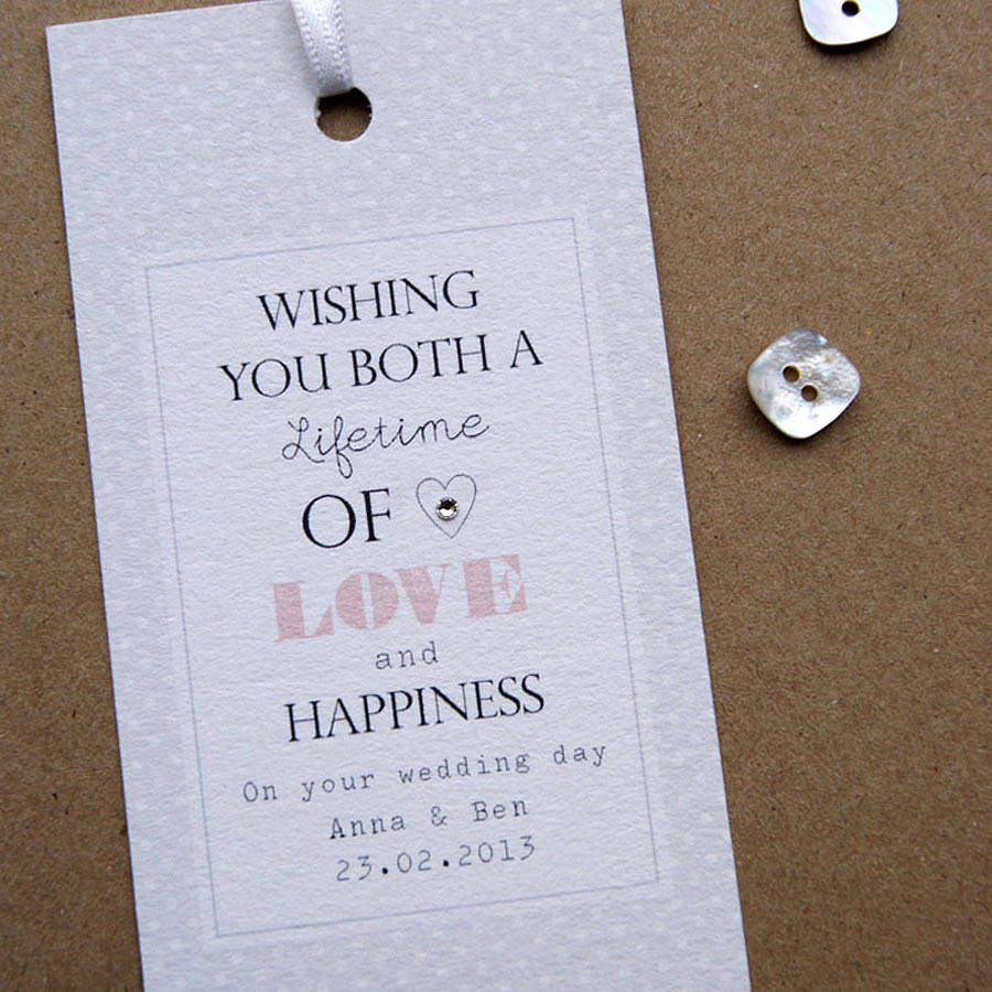 2 Personalised Wedding Gift Tag By On Box Cards Notonthehighstreet