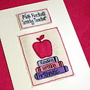 Personalised Teacher Card - Pink Apple