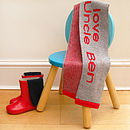 true red on silver grey personalised kid's scarf