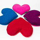 Harris Tweed Heart shaped Heat/Chiller pad in rich blue, bubblegum pink, rich purple and red Harris Tweed