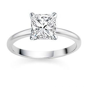 White Gold Princess Cut Diamond Solitaire - rings
