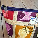Postage Stamp Wash Bag Close Up
