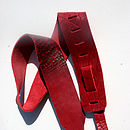 Red Crackle Personalised Leather Guitar Strap