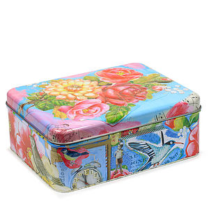 Rectangular Tin Storage Boxes - keepsakes